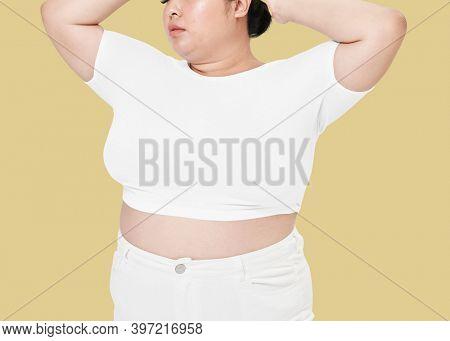 Size inclusive women's fashion white crop top mockup studio shot