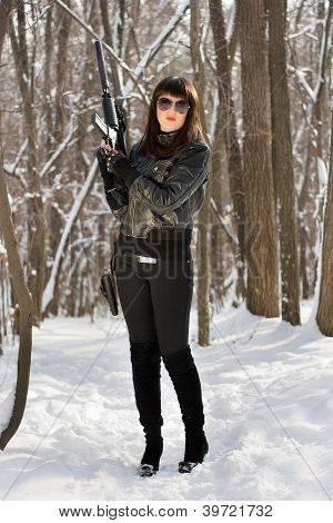 Gorgeous Girl With Pistol Holster