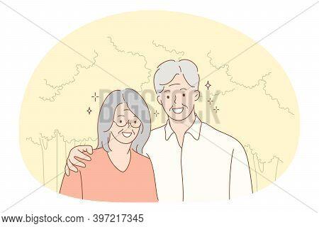 Senior Elderly Couple Living Happy Active Lifestyle Concept. Portrait Of Happy Mature Aged Couple Pe