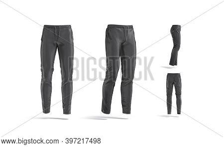 Blank Black Sport Pants Mockup, Different Views, 3d Rendering. Empty Trackies Or Slacks For Jogging