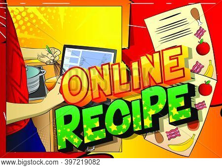 Comic Book Style Poster For Online Cooking Video Blog, Sharing Recipe. Illustration Of A Cooks Hands