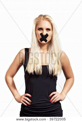 Silenced Woman In Protest