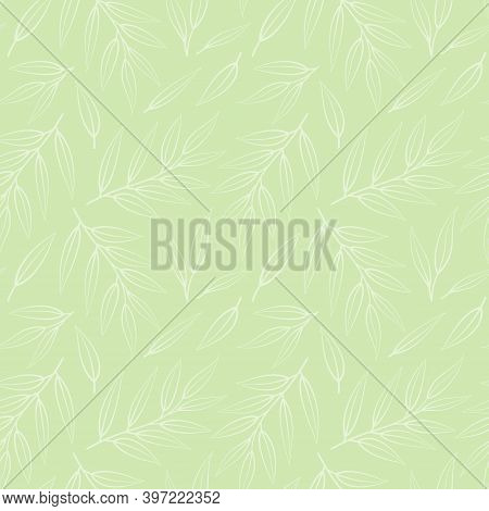 Vector Seamless Pattern With Tropical Foliate Twigs; For Greeting Cards, Wrapping Paper, Posters, Ba