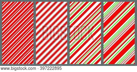 Candy Cane Pattern Set. Collection Of Diagonal Christmas Backgrounds. Red, White And Green Stripes S