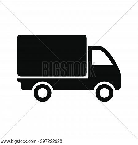 Truck Silhouette Icon Isolated On White Background. Simple Delivery Symbol. Black Transport Van Sign