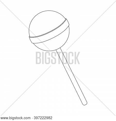 Lollipop Outline Vector Illustration. Round Contour Of Popsicle. Line Art Symbol Isolated On White B