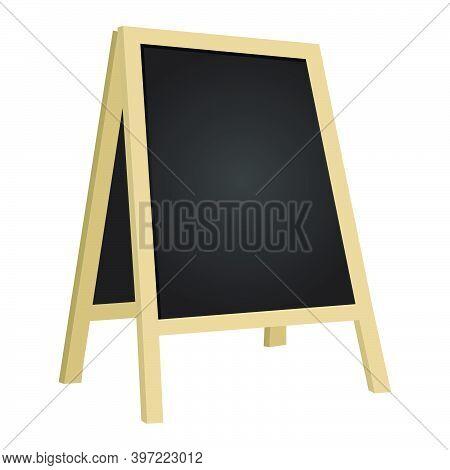Street Chalkboard Isolated On White Background. Empty Cafes Blackboard Billboard Illustration. Blank