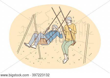 Senior Elderly Couple Living Happy Active Lifestyle Concept. Happy Mature Loving Couple Pensioners W