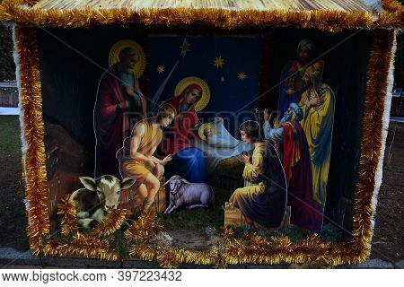 Christmas Decoration. The Scene Of The Birth Of Jesus Christ. Christmas Nativity Scene.