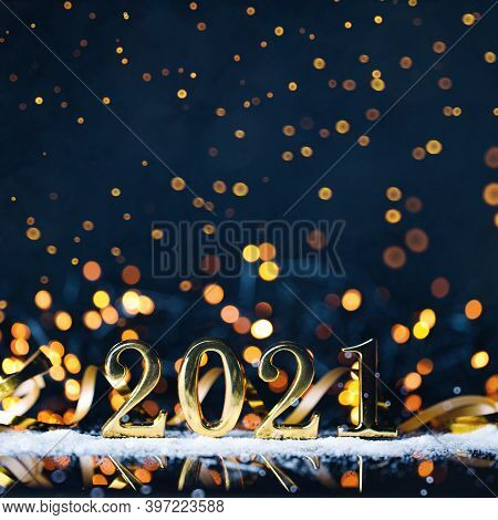 Christmas Year From Golden Numbers On Dark Blue Background.