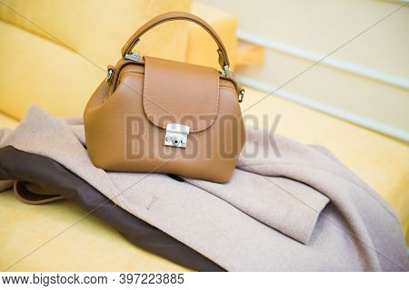 Fashion Autumn Outfit With Small Brown Bag. Trendy Beige Coat. Stylish Beautiful Outfit. Beige Warm