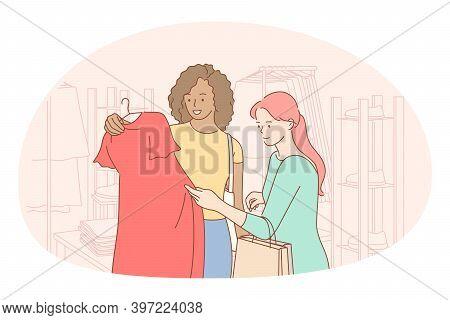 Shopping, Fashion, Customer Concept. Young Positive Women Cartoon Characters Friends Choosing Dress