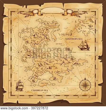 Old Map, Vector Worn Parchment With Caribbean And Southern Sea, Ships, Islands And Land, Wind Rose A