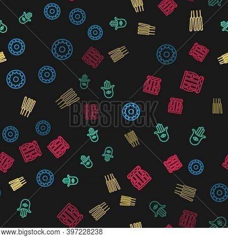 Set Line Chakra, Hamsa Hand, Aroma Sticks, Incense And Instrument Tabla On Seamless Pattern. Vector