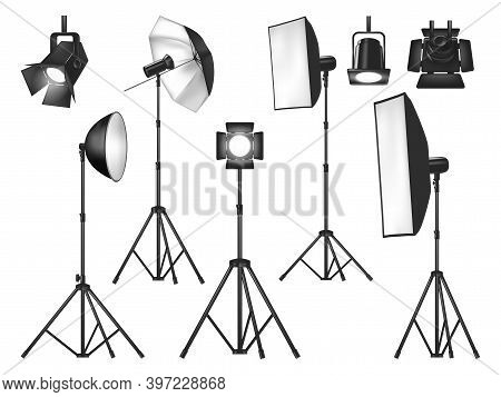 Photo Studio Lighting Equipment And Lights Isolated Vector Objects. Realistic 3d Spotlights And Trip