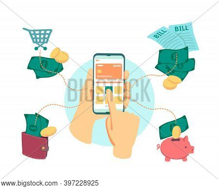 Online Banking. Hand With Smartphone, Money Transactions. Contactless Payment Of Bills, Virtual Shop