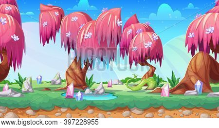 Fantasy Game Landscape, Vector Seamless Background With Cartoon Fairy Forest. Game Ui Animation Of A