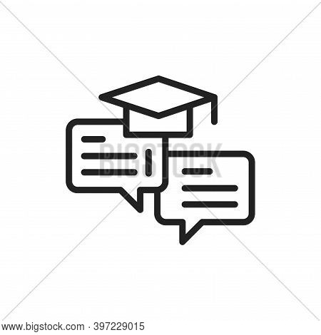 Oratory Courses Black Line Icon. Outline Pictogram For Web Page, Mobile App, Promo.