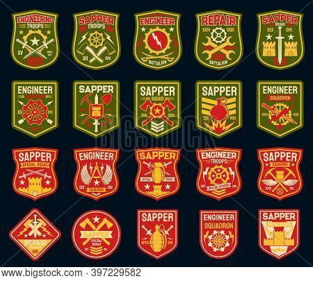 Sapper Or Combat Engineer Vector Military Patches And Army Badges. Military Engineering Isolated Ico
