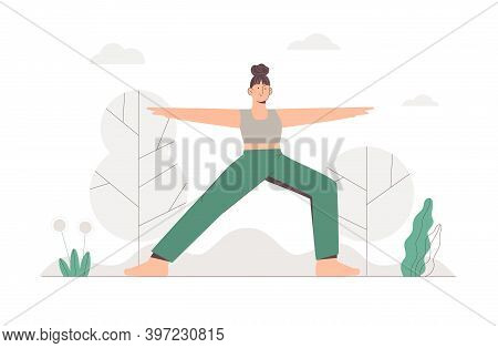 Young Girl Doing Yoga In A Park On Nature Background. Flat Style Vector Illustration.