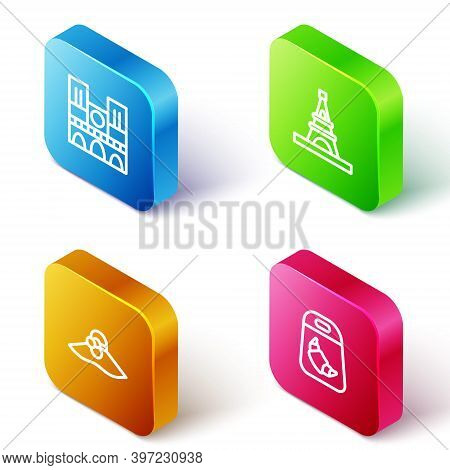 Set Isometric Line Notre Dame, Eiffel Tower, Elegant Women Hat And Croissant Package Icon. Vector