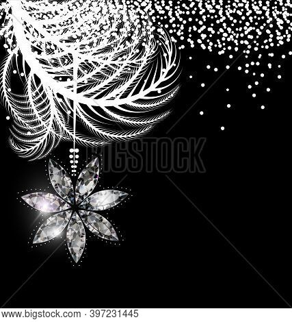 Vector Black White Christmas With Crystal Star