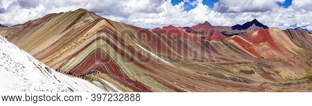 Rainbow Mountains Or Vinicunca Montana De Siete Colores With People, Cuzco Region In Peru, Peruvian