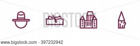 Set Line Canadian Ranger Hat, Chateau Frontenac Hotel, Kayak Or Canoe And Wooden Log Icon. Vector