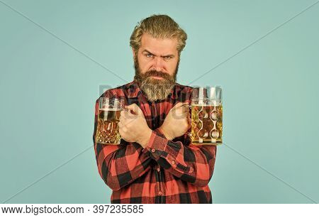 Alcoholic. Thirsty Man Drinking Beer In Pub Bar. Hipster Drink Beer. Mature Bearded Guy Hold Beer Gl