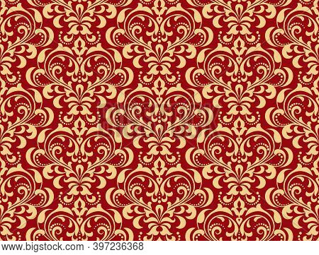 Floral Pattern. Vintage Wallpaper In The Baroque Style. Seamless Vector Background. Gold And Red Orn