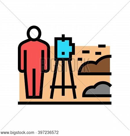 Worker With Lever Researching Place For Building Road Color Icon Vector. Worker With Lever Researchi