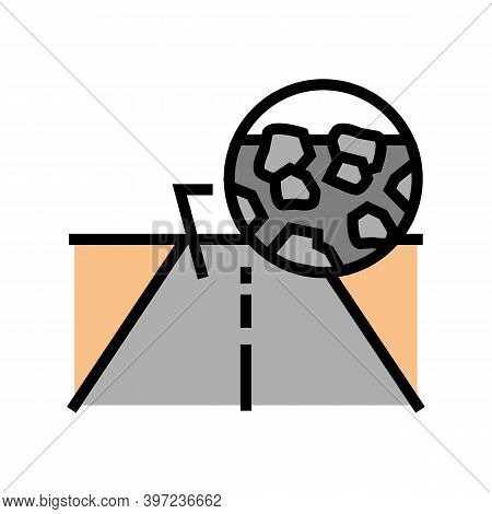 Gravel Crashed Stone Road Color Icon Vector. Gravel Crashed Stone Road Sign. Isolated Symbol Illustr