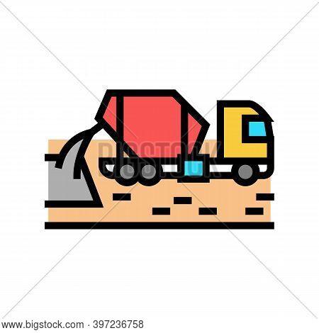 Concrete Mixer Truck Color Icon Vector. Concrete Mixer Truck Sign. Isolated Symbol Illustration