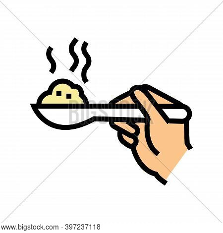 Hand Holding Oatmeal On Spoon Color Icon Vector. Hand Holding Oatmeal On Spoon Sign. Isolated Symbol