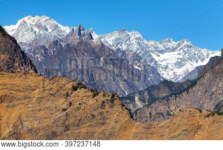 Himalaya, Panoramic View Of Indian Himalayas, Great Himalayan Range, Uttarakhand India