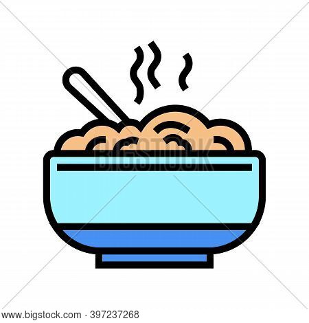 Delicious Boiled Oatmeal Color Icon Vector. Delicious Boiled Oatmeal Sign. Isolated Symbol Illustrat