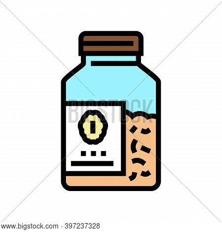 Bottle Oat Cereal Color Icon Vector. Bottle Oat Cereal Sign. Isolated Symbol Illustration