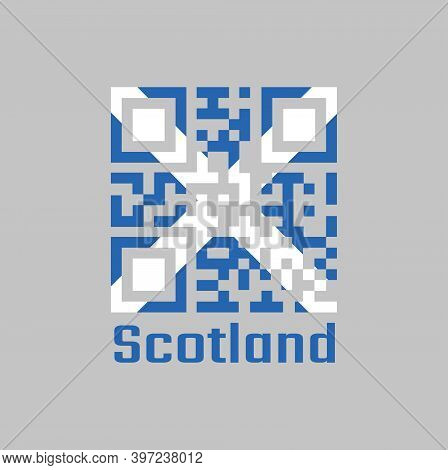 Qr Code Set The Color Of Scotland Flag, It Is A Blue Field With A White Diagonal Cross That Extends