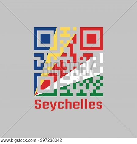 Qr Code Set The Color Of Seychelles Flag, Five Oblique Bands Of Blue Yellow Red White And Green. Tex