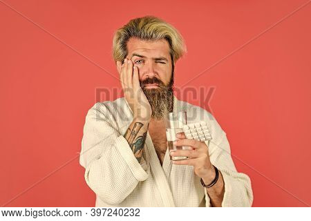 Having Toothache. Bearded Hipster Relax In Bed. He Need Bed Rest. Consequences Of Hangover. Man Take