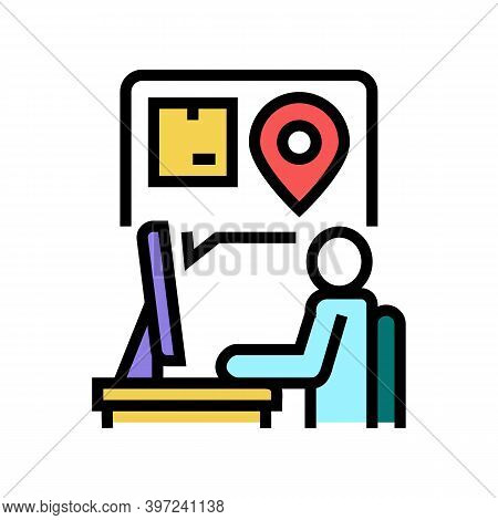 Manager Checking Order Location Color Icon Vector. Manager Checking Order Location Sign. Isolated Sy