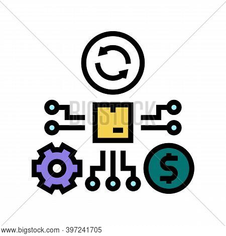 Manufacturing And Selling Process Color Icon Vector. Manufacturing And Selling Process Sign. Isolate