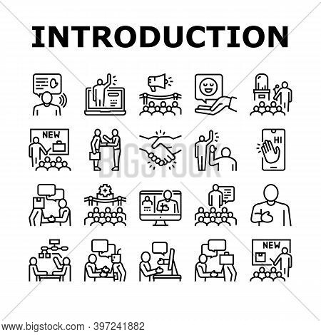 Introduction Speech Collection Icons Set Vector. New Product And Business Case Presentation, Employe