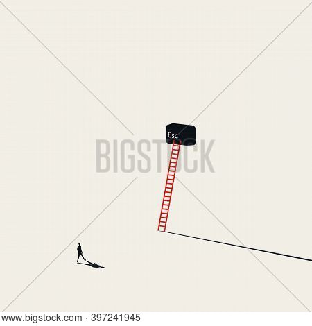 Escape Vector Concept. Businessman Walking To Escape Key. Symbol Of Freedom, Independence, Liberty.