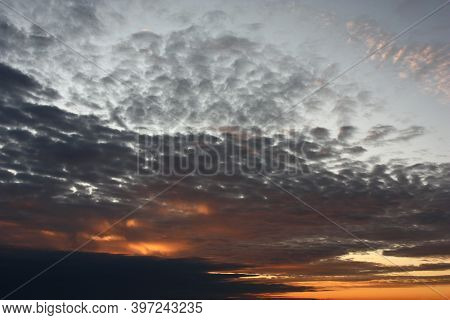 Early Autumn Morning. Sunrise. The Brightening Sky Is Decorated With Clouds, Different In A Form And