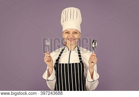 Portrait Of Female Chef. Award Cooking. Professional Chef Woman. Ready For Eating. Lets Cook. Happy
