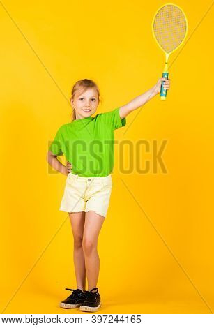 Happy Child With Tennis Racquet For Training, Sport Game