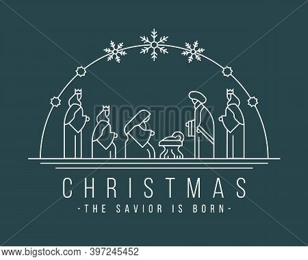 Christmas ,the Savior Is Born Banner With White Line Nativity Of Jesus Scene And Three Wise Men In T