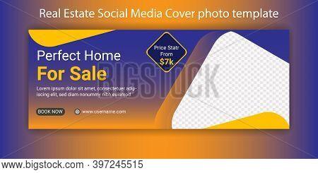 Perfect Home Sale Real Estate Social Media Timeline Cover Photo Design. Real Estate Business Digital