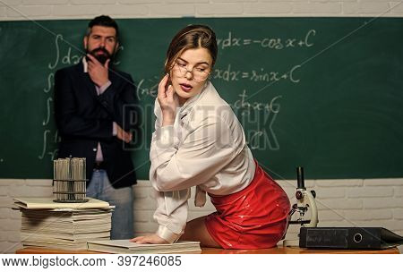 Learning To Seduce. Sexy Woman Back To Class. Sensual Woman Teacher With Sexy Look. Pretty Woman Sed